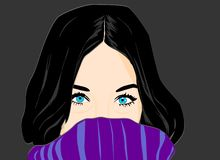 Mysterious girl with magnetic blue eyes stock illustration