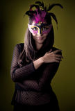 Mysterious girl with Venetian mask Royalty Free Stock Photos