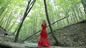 Mysterious Girl Walking In The Forest stock video footage