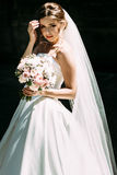 Mysterious glance of the young nice bride Stock Photo