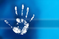 Mysterious handprint. Handprint of a child with colors Royalty Free Stock Photography