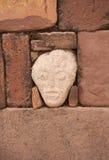 Mysterious Head in Semi-Underground Temple, Tiwanaku Stock Photography