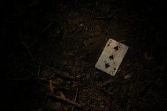 3 mysterious hearts. Random cards in dirt Stock Photos