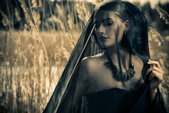 Mysterious lady. Beautiful brunette woman wearing long black dress and black veil posing among the reeds. The old times, the Gothic style. Fashion Stock Photography