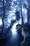 Mysterious landscape with ancient lion statue in misty forest Stock Photo