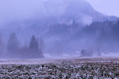 Mysterious landscape with barne and some snow. On a rainy autumn day, slovenia Royalty Free Stock Image