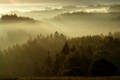 Mysterious Landscape of Bohemian Switzerland. Landscape with silhouettes during foggy dawn - national park Ceske Svycarsko - Czech Switzerland National Park Stock Photo