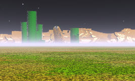 A mysterious landscape. 3d illustration: A mysterious landscape on an unknown planet Royalty Free Stock Image