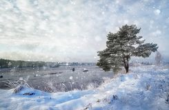 Mysterious landscape with river in winter. Magical snow covered stock photography