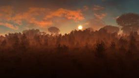 Mysterious Landscape Sunset vector illustration