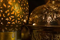 A mysterious light of a arabian lintern royalty free stock images