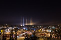 Mysterious light pillars Royalty Free Stock Photo