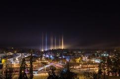 Mysterious light pillars Royalty Free Stock Photo