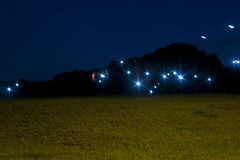 Mysterious Lights. Unidentified lights at night in a field stock images