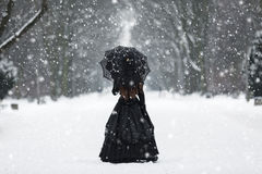Mysterious lonely woman in Victorian dress. Departing into the distance Royalty Free Stock Photography