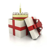 Mysterious magic gift with birthday cake inside render Stock Photography