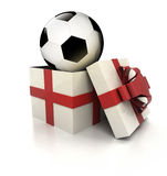 Mysterious magic gift with football ball inside render Royalty Free Stock Photo