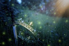 Mysterious and magical photo of silver king crown and sword in the England woods or field landscape with light flare. Medieval. Period concept stock photography