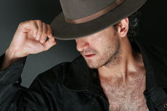 Mysterious man. In hat greeting Royalty Free Stock Photo