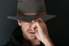 Mysterious man. In cowboy hat Royalty Free Stock Images