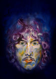 Mysterious man. Portrait in oil paint of a mysterious young man with curls Stock Photo