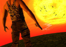 Mysterious Man Holding Smoking Pistol Gun Sunset Royalty Free Stock Photos