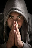 Mysterious man in a hoodie Stock Photos