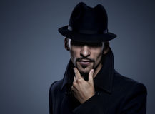 Mysterious man retro portrait Stock Photo