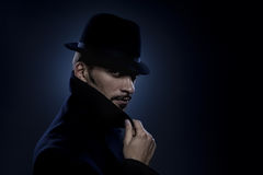 Mysterious man retro portrait stock photography