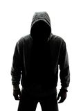 Mysterious man in silhouette. Isolated on white background Stock Photography