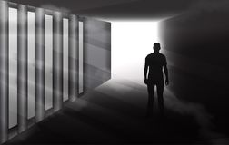 Mysterious man silhouette in misty tunnel. Man silhouette walking in a dark spooky tunnel, black and white vector illustration, dramatic light and fog royalty free illustration