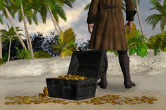 Mysterious Man With A Treasure Chest Illustration Royalty Free Stock Image