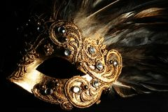 Mysterious mask. Detail of a richly decorated venetian mask Royalty Free Stock Images