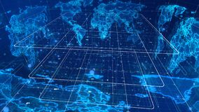 Mysterious Mass Media World Map. An enigmatic 3d illustration of a cyberspace mass media map with some signs and symbols, a light blue cubic grid, many shining stock illustration