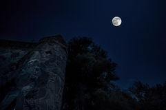 Mysterious medieval castle in a full moon night Azerbaijan Royalty Free Stock Images