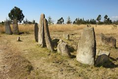 Mysterious megalithic Tiya pillars, UNESCO World Heritage Site, Ethiopia. Royalty Free Stock Images