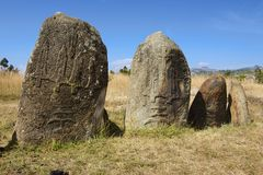 Mysterious megalithic Tiya pillars, UNESCO World Heritage Site, Ethiopia. Royalty Free Stock Photos
