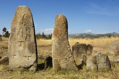 Mysterious megalithic Tiya pillars, UNESCO World Heritage Site, Ethiopia. Stock Photography