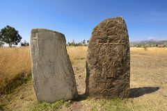 Mysterious megalithic Tiya pillars, UNESCO World Heritage Site, Ethiopia. Royalty Free Stock Photography