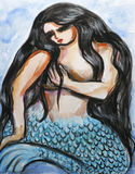 Mysterious mermaid. Watercolor painting of a beautiful, mysterious mermaid Royalty Free Stock Photography