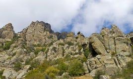 Mysterious mountain Demerdzhi.Bottom view Stock Photography