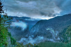 Mysterious Mountains. Mysterious evening in gorge Prison cell in Republic Abkhazia Stock Image