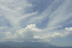 Mysterious mountains and clouds Stock Photography