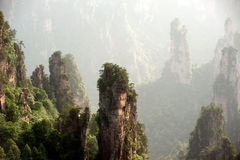 Mysterious Mountains Zhangjiajie, Hunan Province In China. Royalty Free Stock Photography