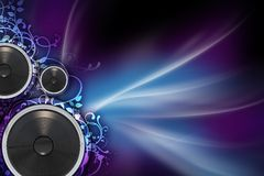 Mysterious Music. Music Background with Colorful Violet and Blue Rays, Floral Ornaments and Bass Speakers. Great Copy Space stock photography