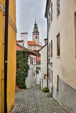 Mysterious narrow alley with lanterns in Prague at night.  Stock Photography