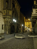 Mysterious night street in Prague. Beautiful view. Stock Photos
