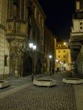 Mysterious night street in Prague. Beautiful view. Stock Photos