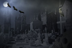 Mysterious old cemetery at night Royalty Free Stock Photo
