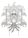 Mysterious owl adult coloring Stock Photography